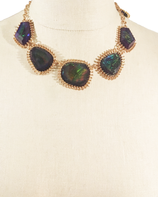 Chunky Gold and Prism Statement Necklace