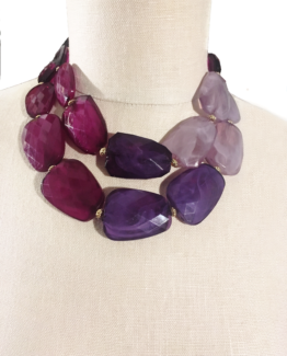Amethyst Ombre Chunky Beaded Statement Necklace