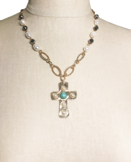 Gold and Pearl Beaded Cross Pendant Necklace