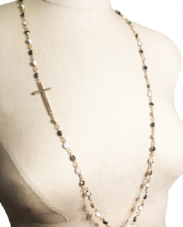 Gold, Black and White Asymmetrical Cross Necklace