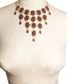 Gold and Burnt Orange Dripping Princess Necklace