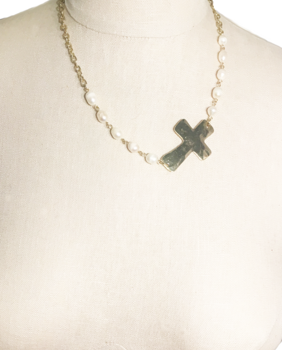 Asymmetrical Golden Pearl Cross Pendant Necklace