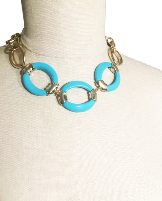 Turquoise and Gold Tribal Necklace