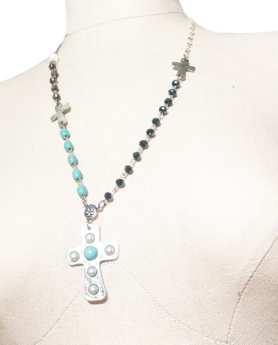 Rosary Inspired Princess Length Cross Necklace