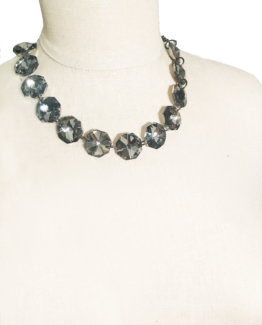 Chunky Clear Gem Bead Statement Necklace
