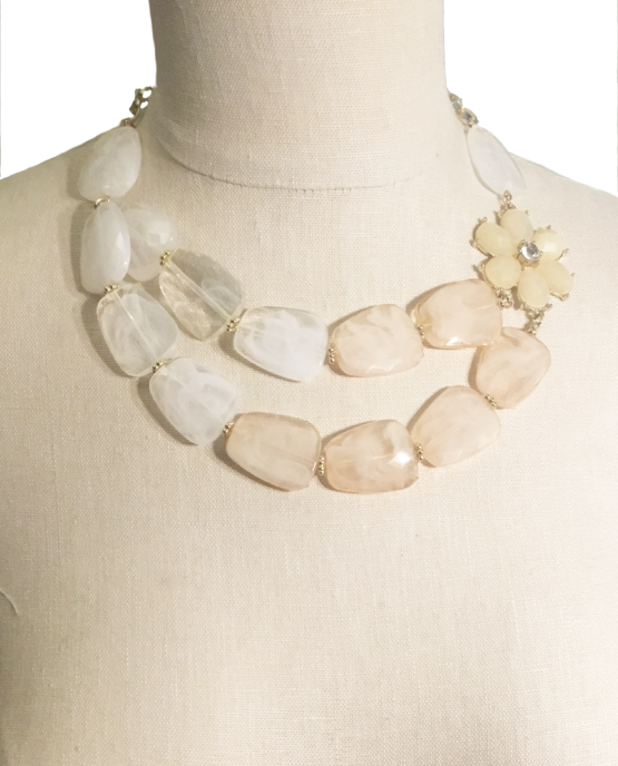 White and Peach Beaded Asymmetrical Flower Necklace